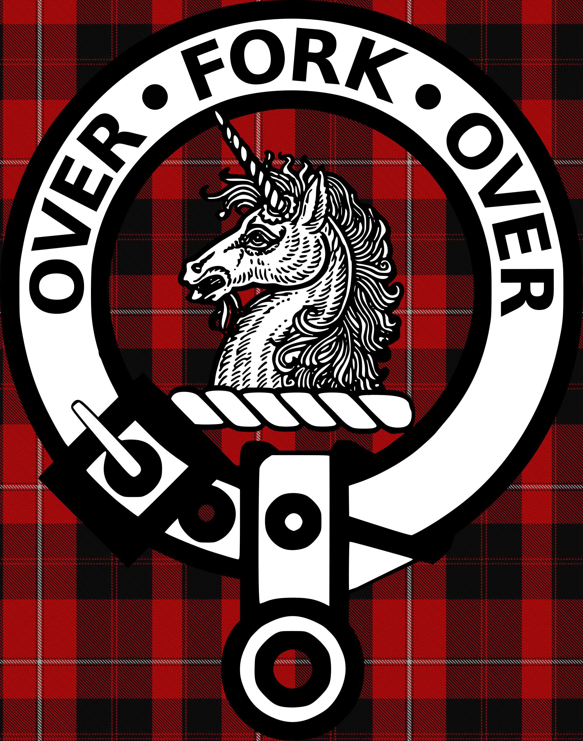 David Lee Caroline >> Cunningham Clan Badge on Tartan