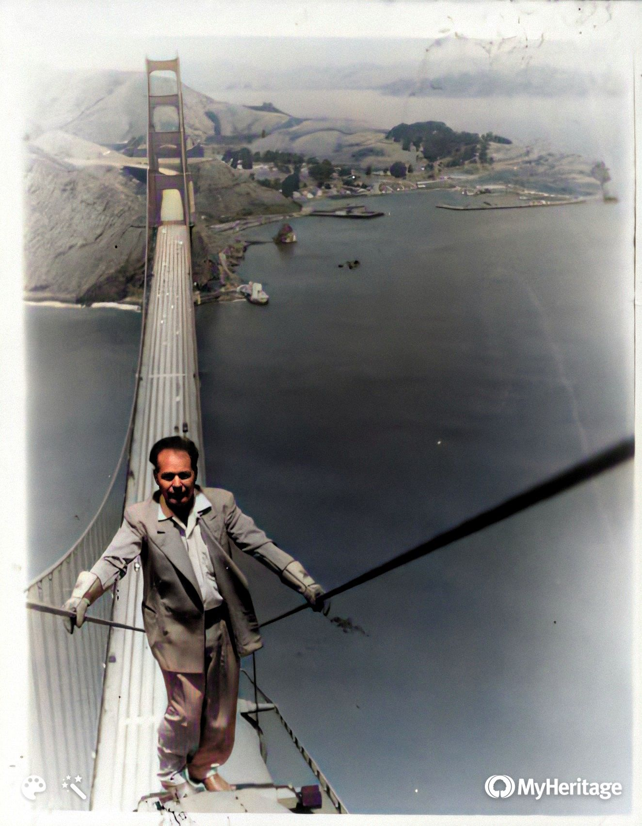 "Randall ""Red"" Parman on the Golden Gate Bridge"