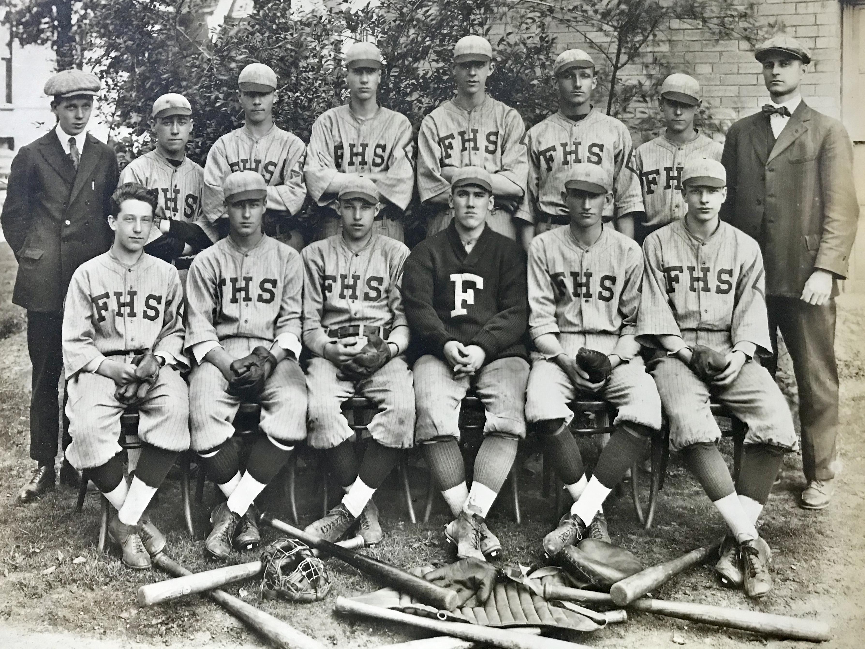 Photo of Framingham High School (Massachusetts) baseball team, circa 1919