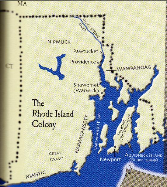 Roger Williams Map Rhode Island