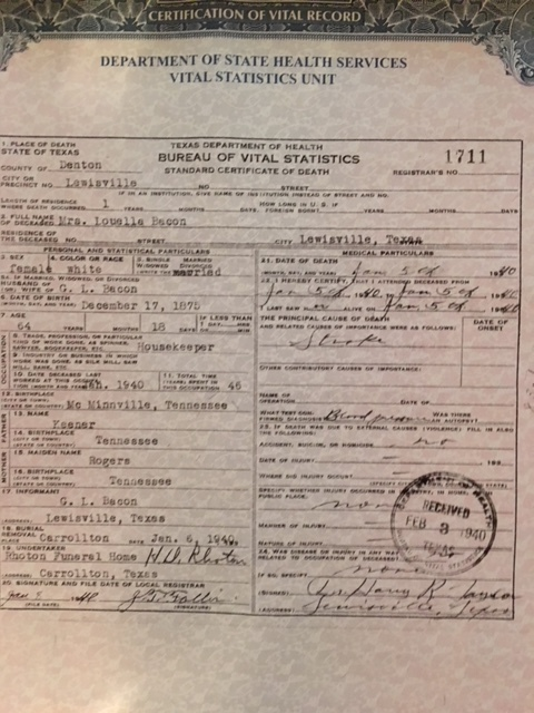 Texas Certificate of Death