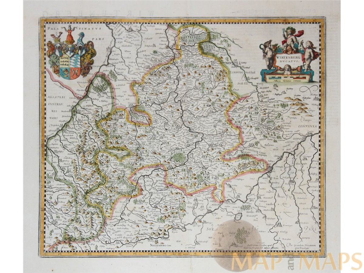Wirtenberg Ducatus Old Map Baden Wurttemberg Germany Janssonius
