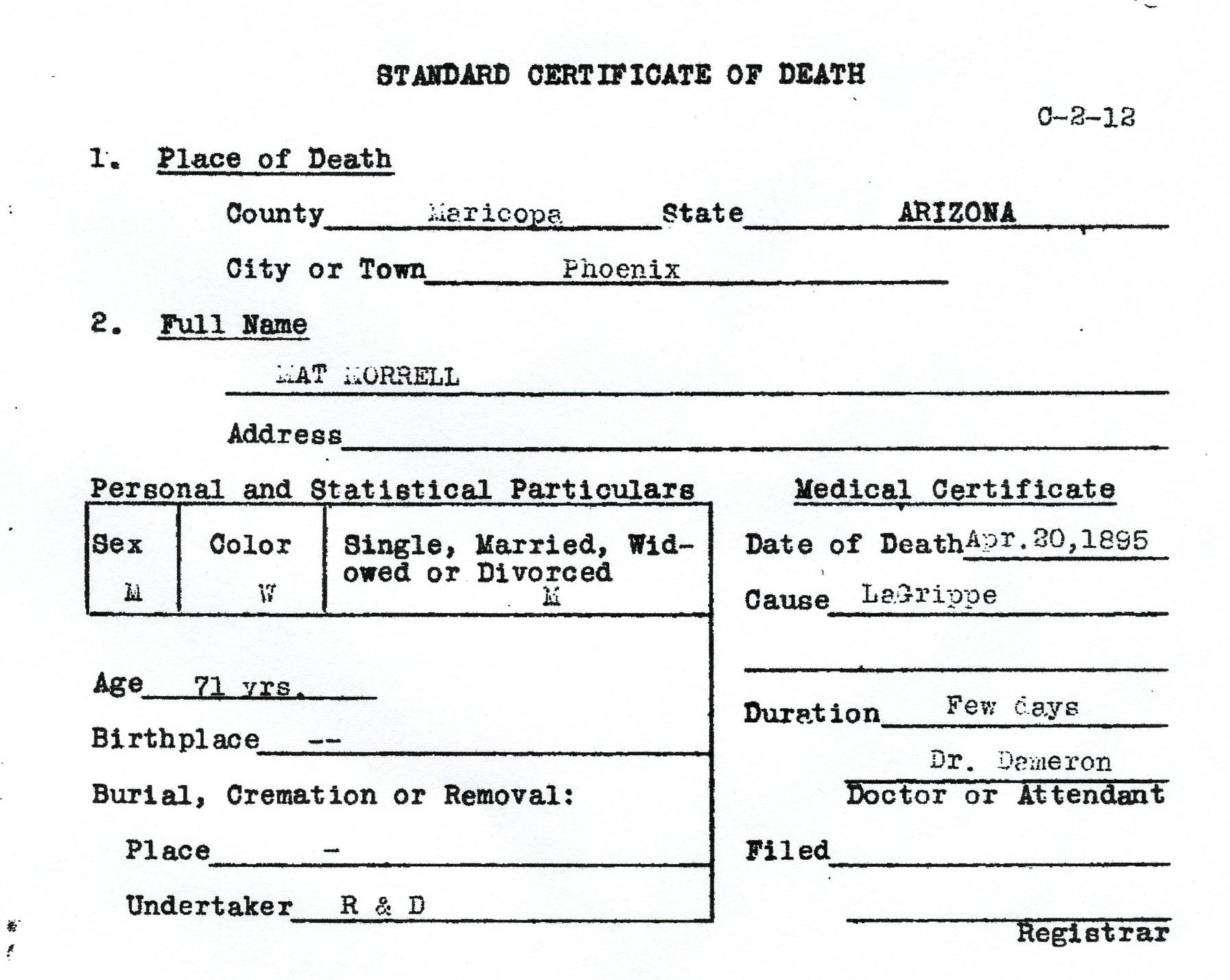 Matt Morrell Death Certificate