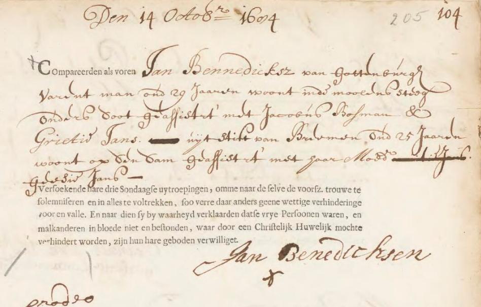 1684 Marriage Bann Record