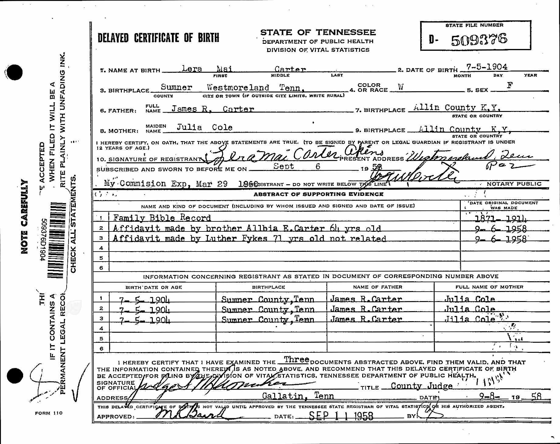 Delayed Birth Record For Lera Mai Carter Akins