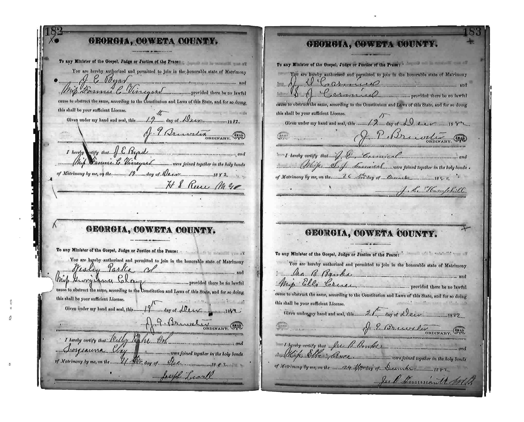 Marriage Certificate Ira Banks Martha Ellen Cruce