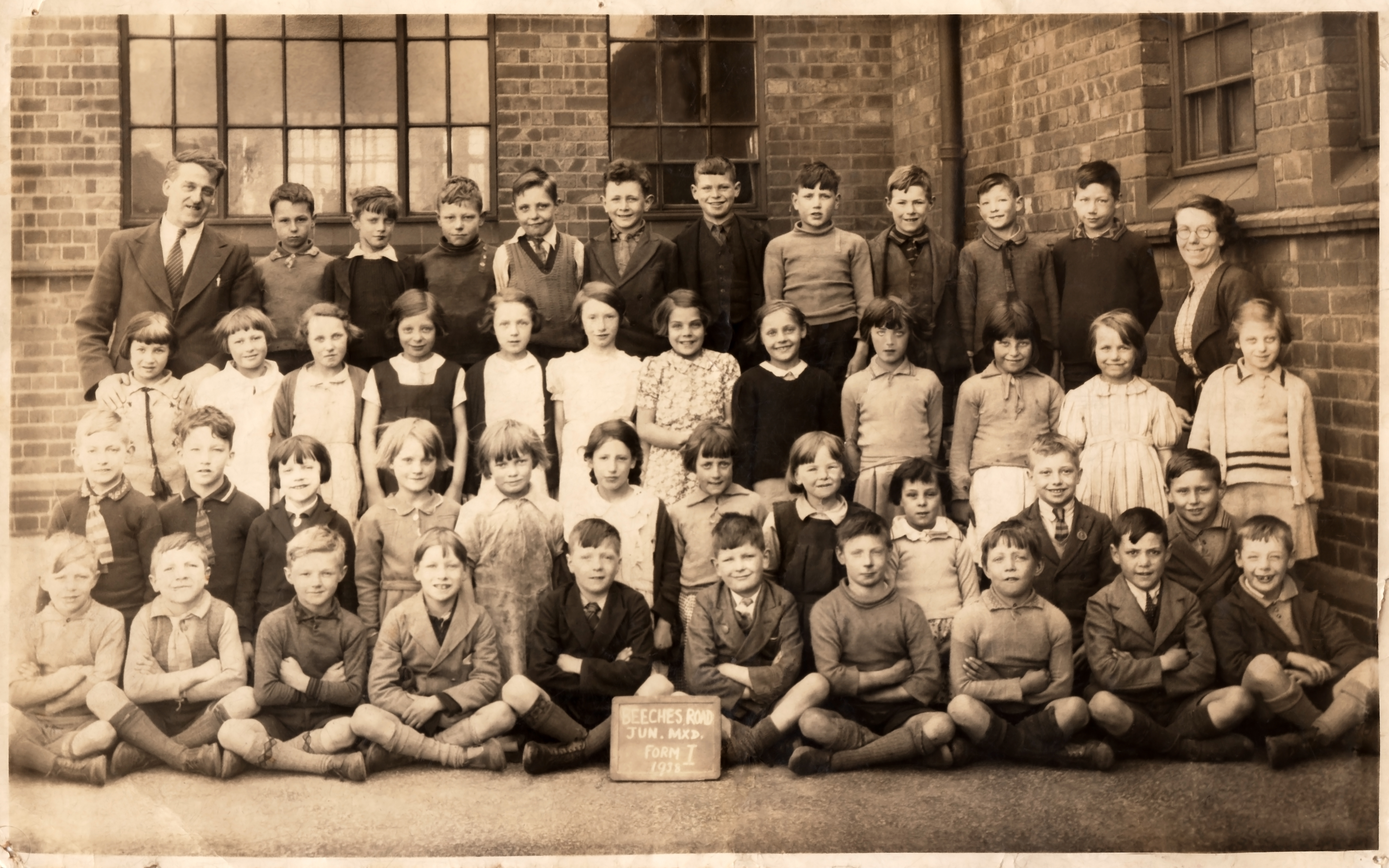 Highfields School, Beeches road, Worc. June 1938  Mixed Form 1.
