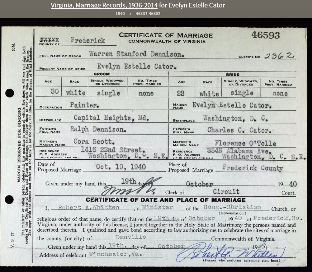 Virginia License For Marriage Of Evelyn Cator And Warren S Dennison
