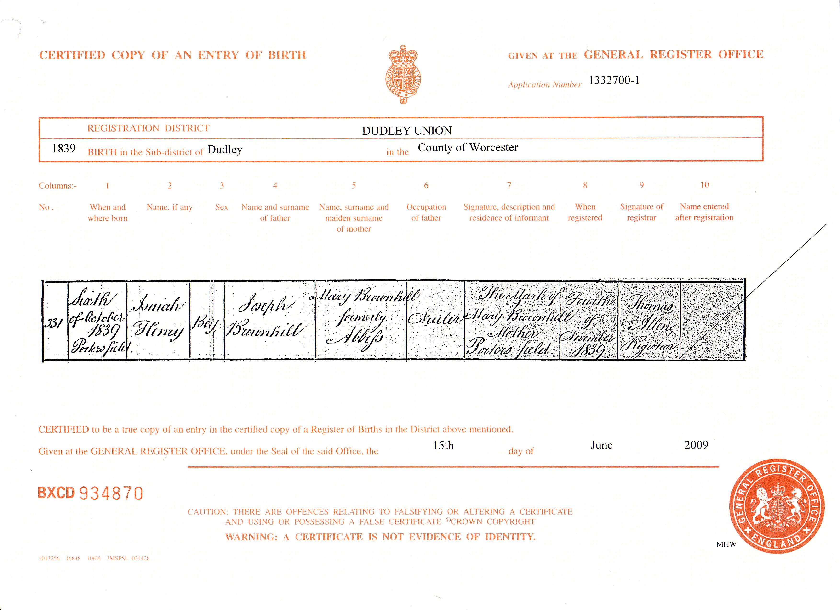 Isaiah henry brownhills birth certificate original digital image 3507 x 2550 pixels xflitez Choice Image