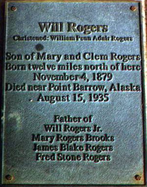 Will Rogers plaque