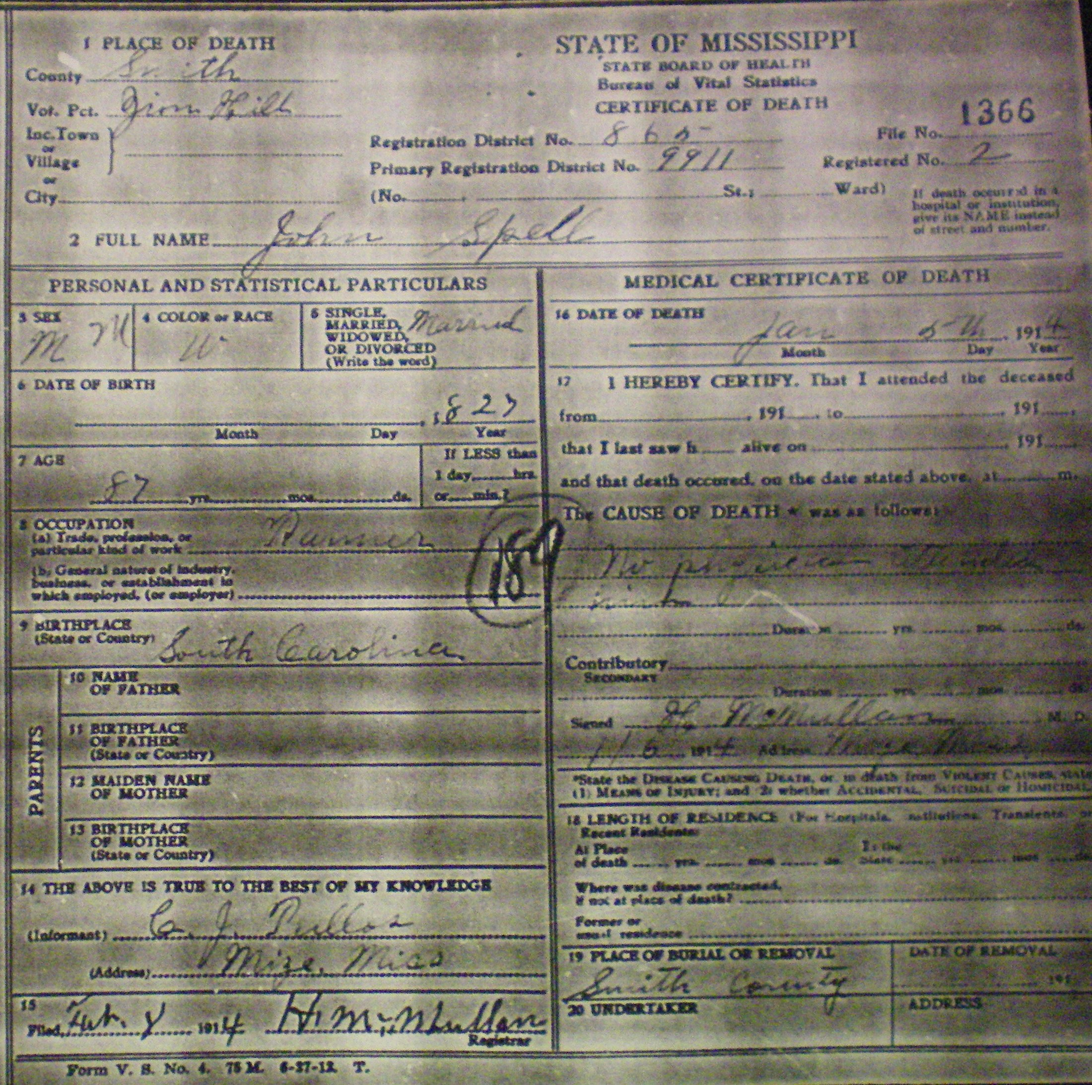 Ms Death Certificate