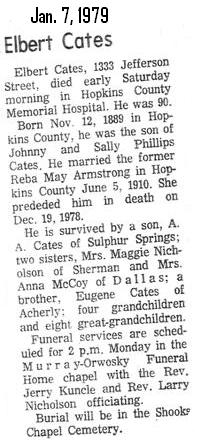 Phillip Elbert Cates, obit.