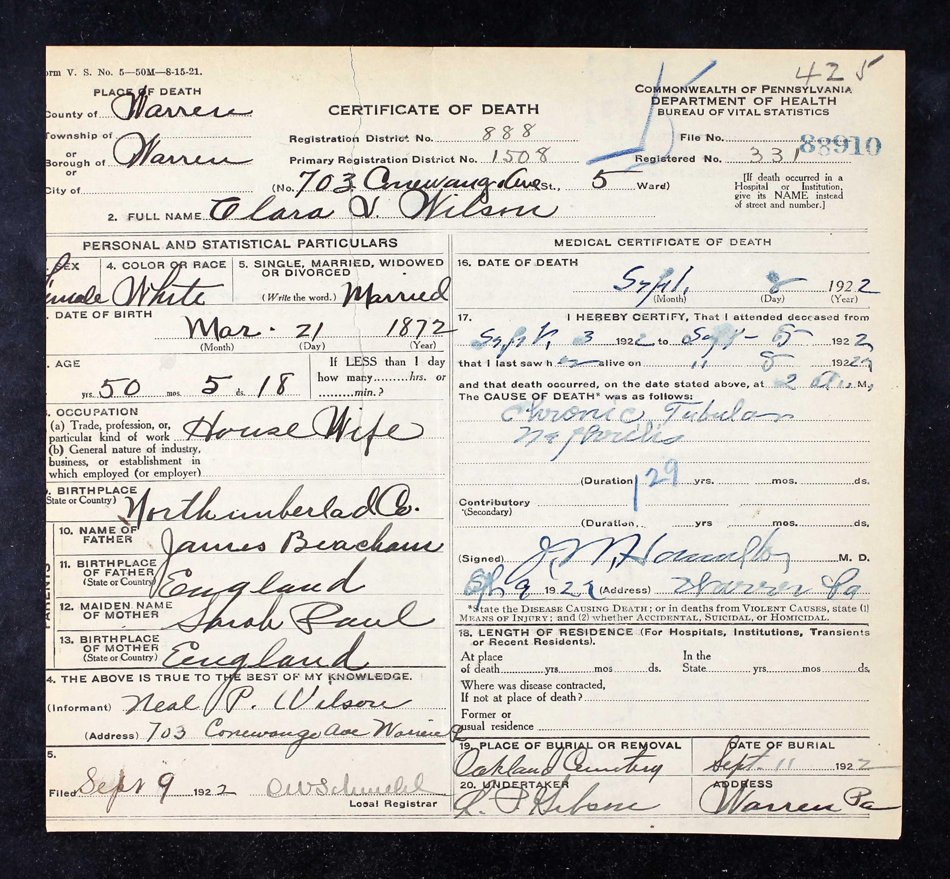 Clara Virginia Beacham Death Certificate