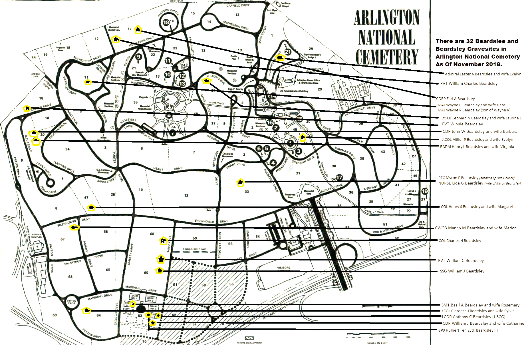 Map of Arlington National Cemetery with Beardslee and Beardsley ...