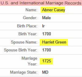 Harriet and Abner marriage information