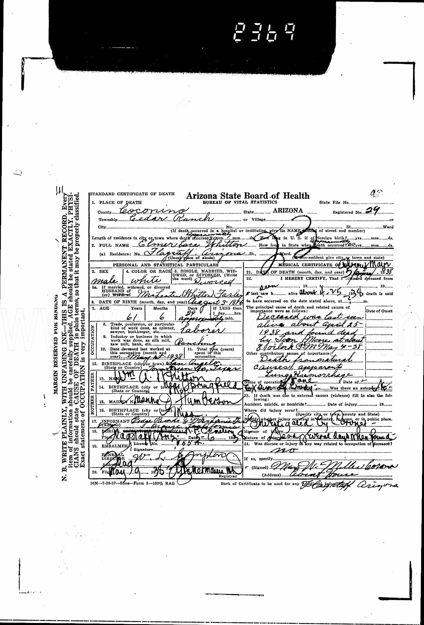 Elmer Lace Whittons Death Certificate