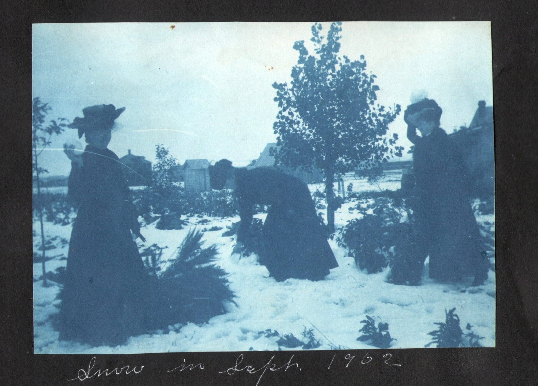 Inez, Helen and Mabel snowballing, Sept 12, 1903