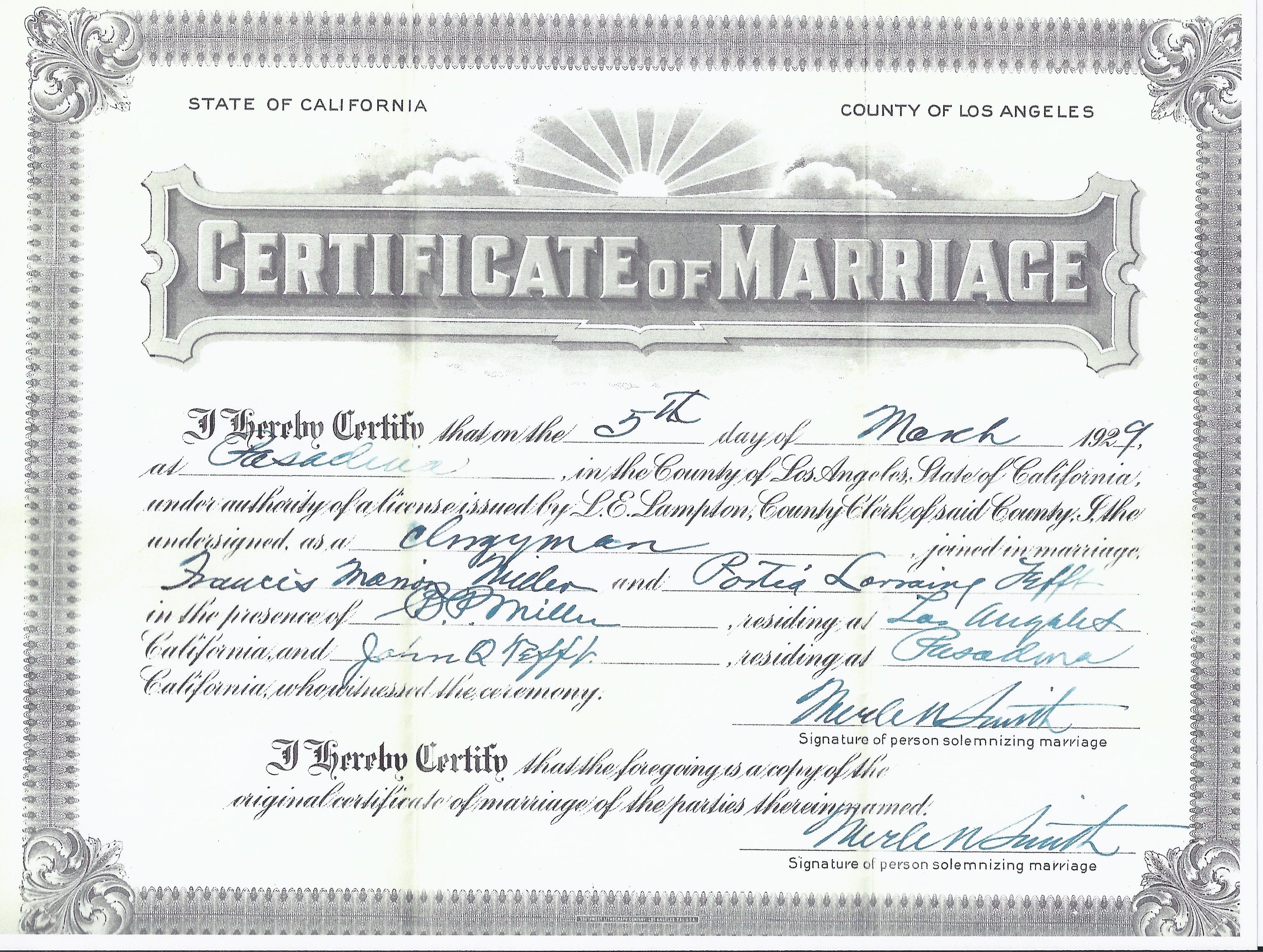 Copy of marriage certificate los angeles california