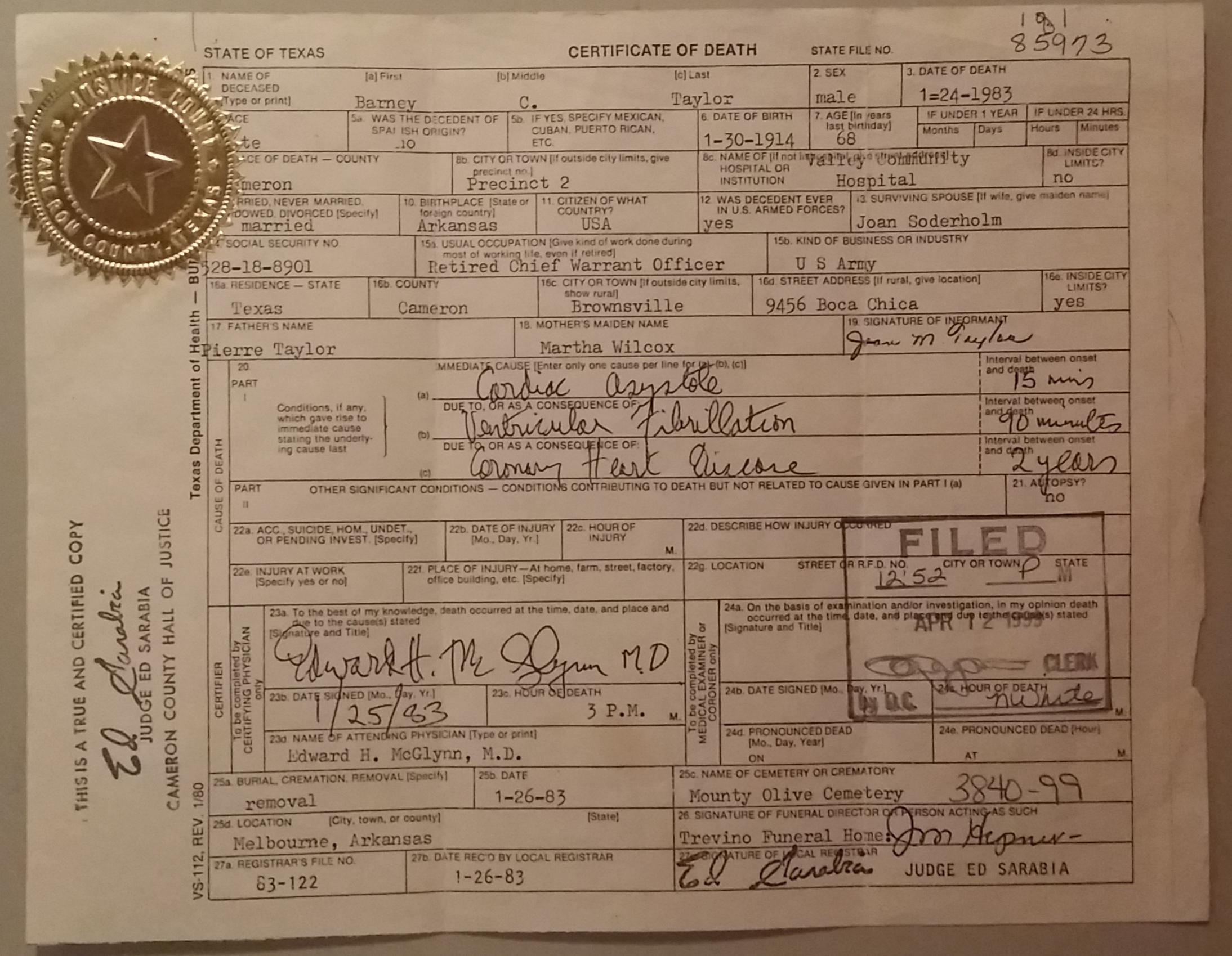 Eli Taylor Death Certificate