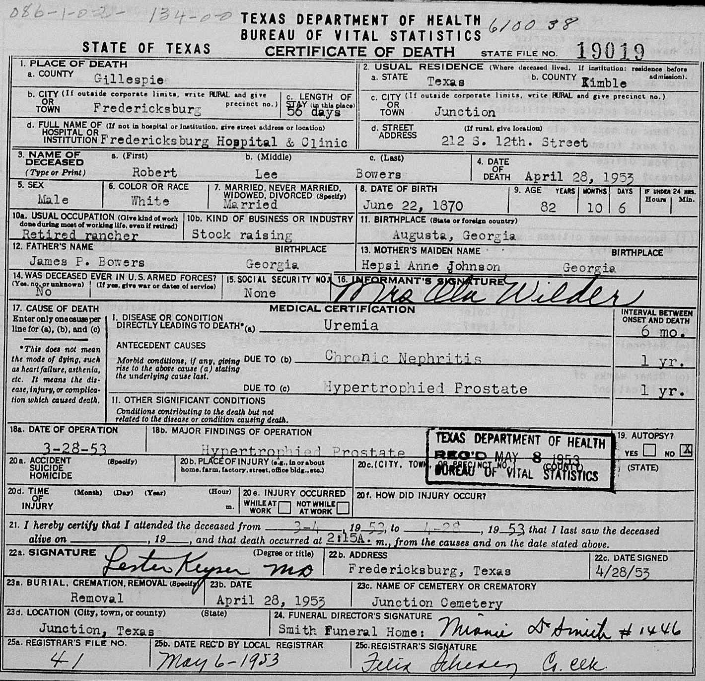 Robert Bowers Death Certificate