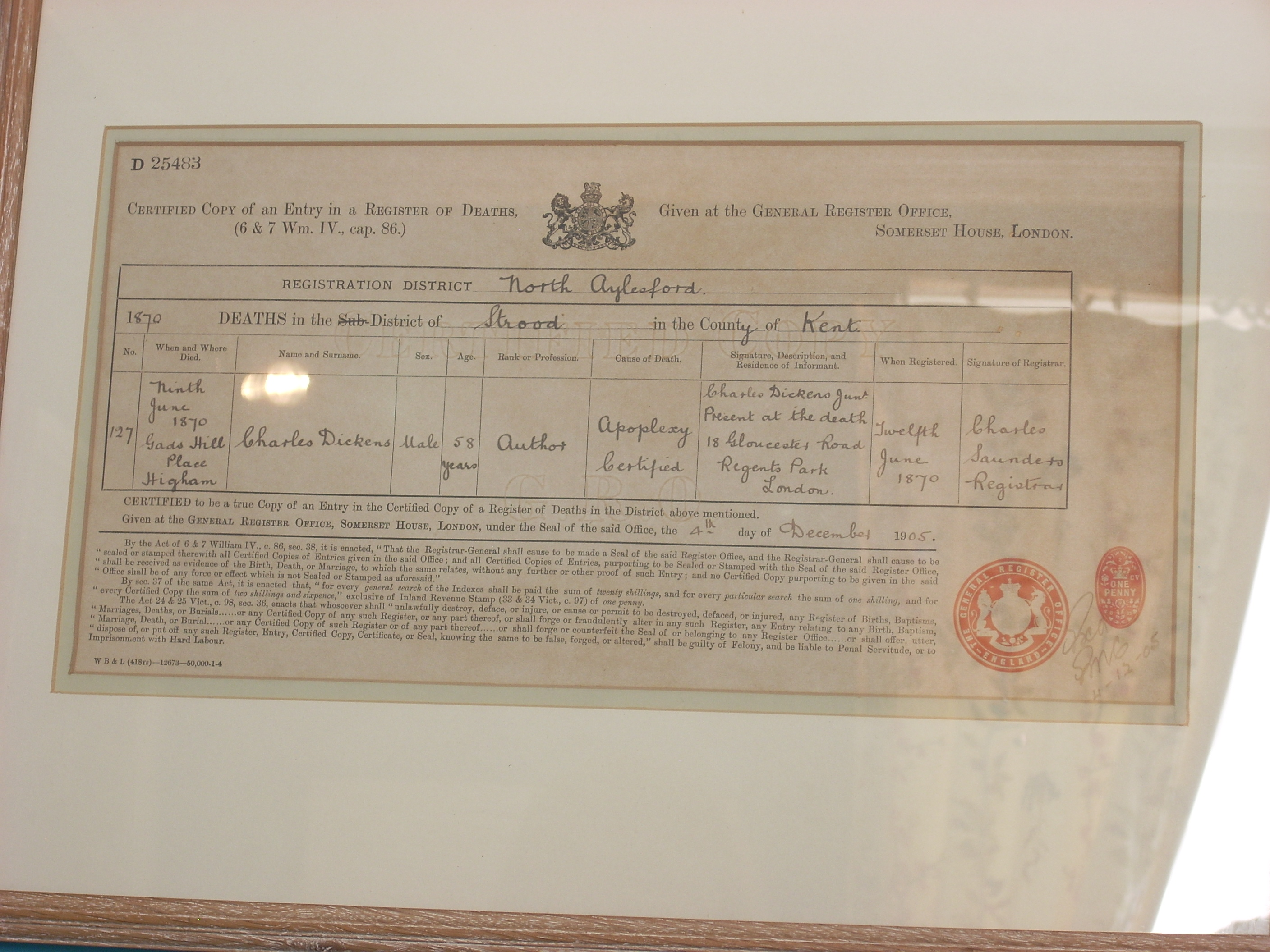 Charles\' death certificate