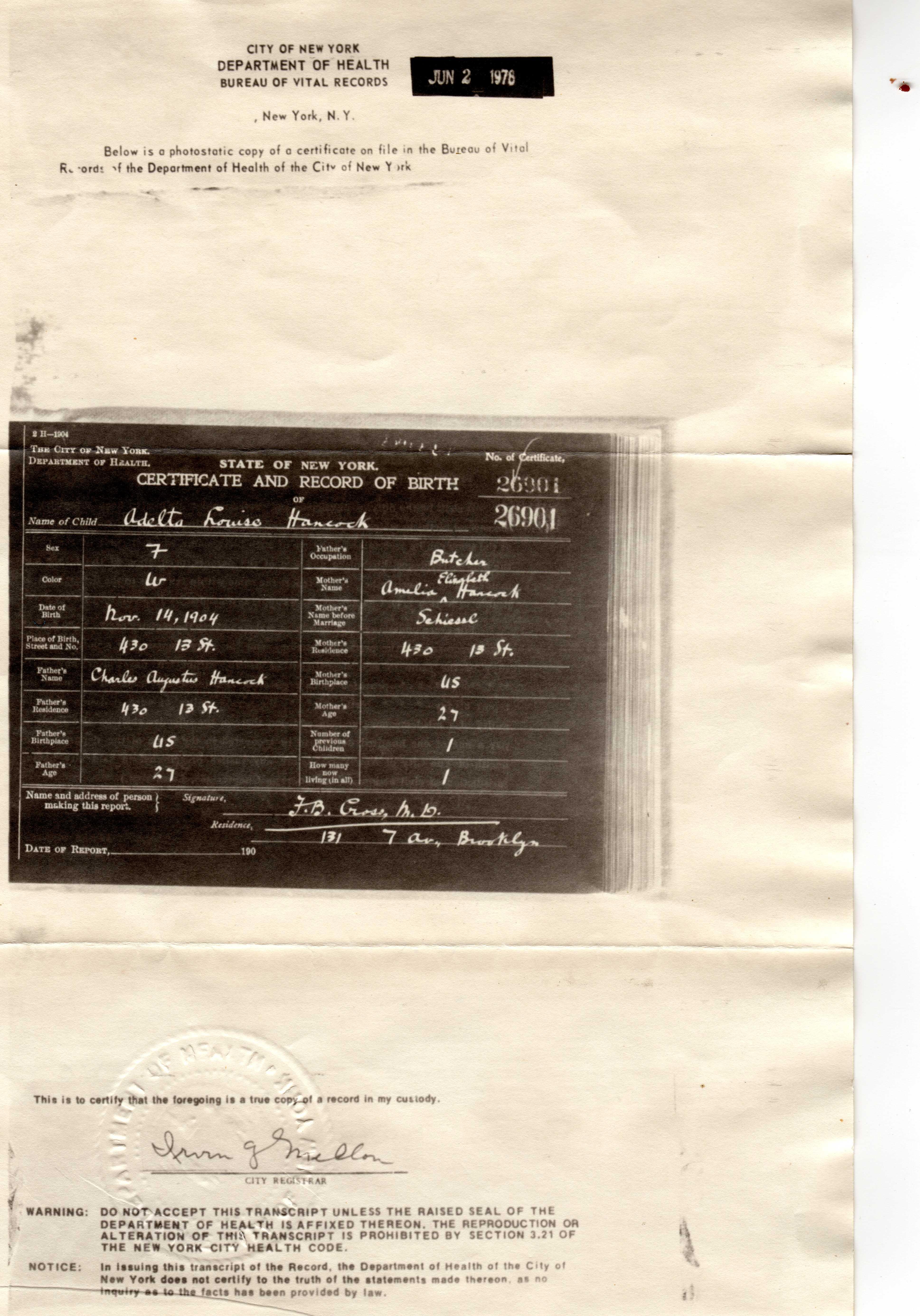 Madeline hancock birth certificate original digital image 3875 x 5544 pixels aiddatafo Image collections