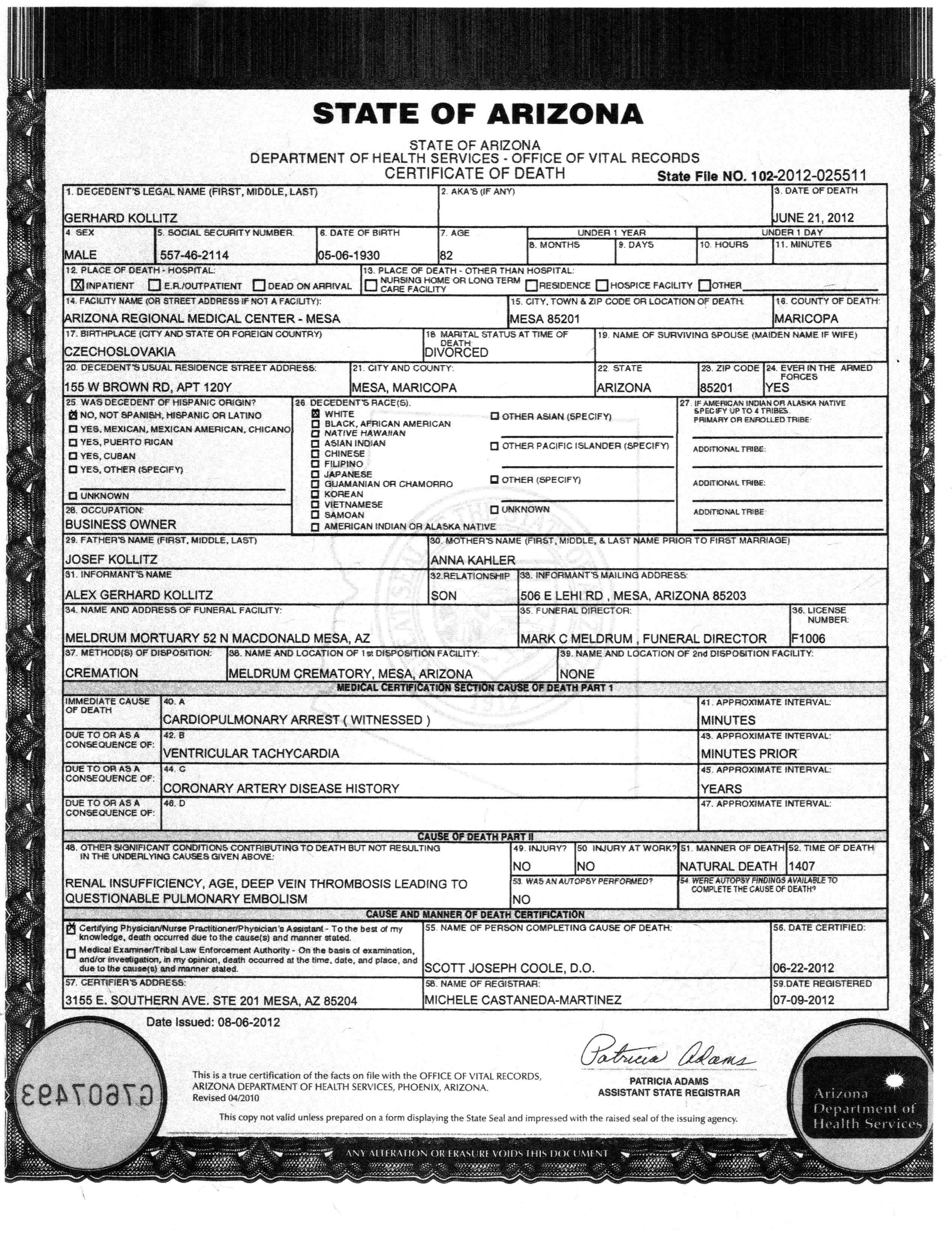 Arizona Vital Records Agency Information