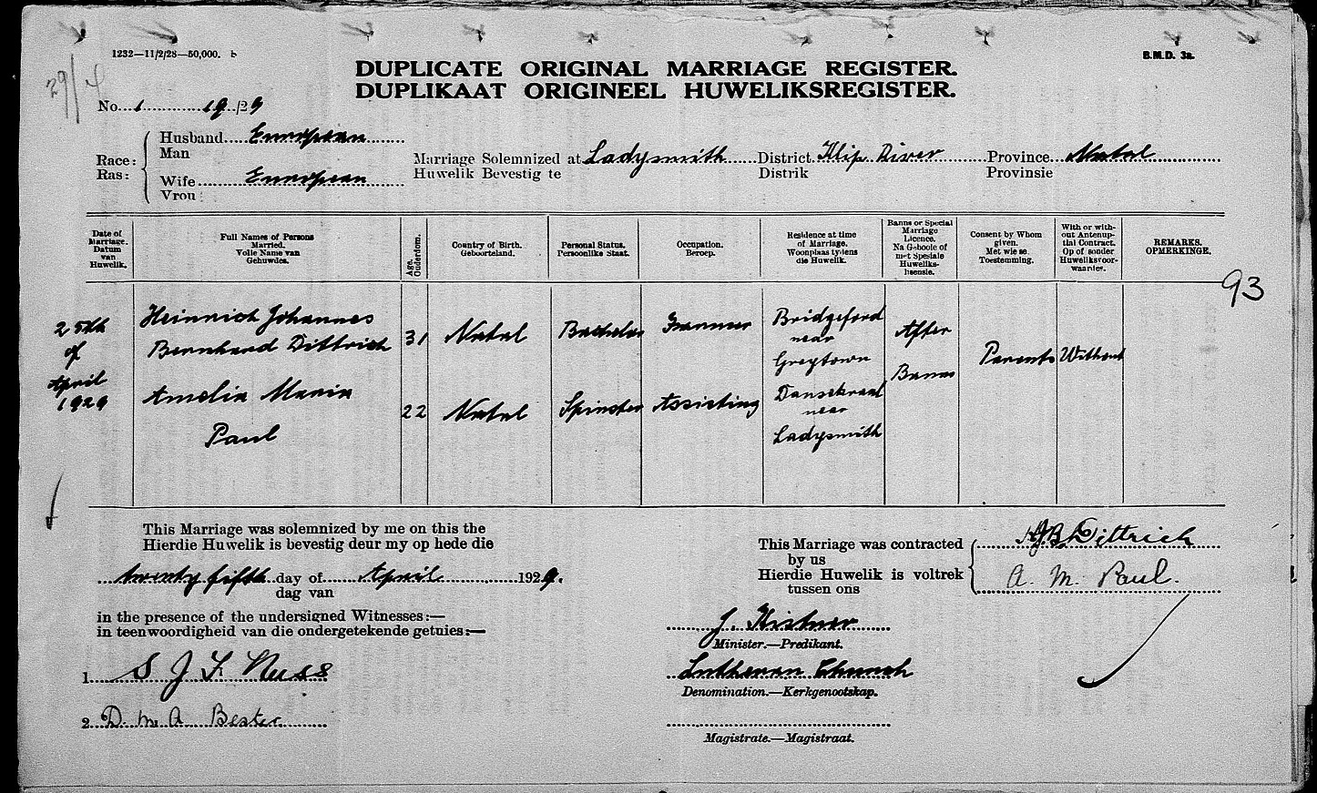Marriage Certificate For Heinrich Dittrich And Amelia Paul