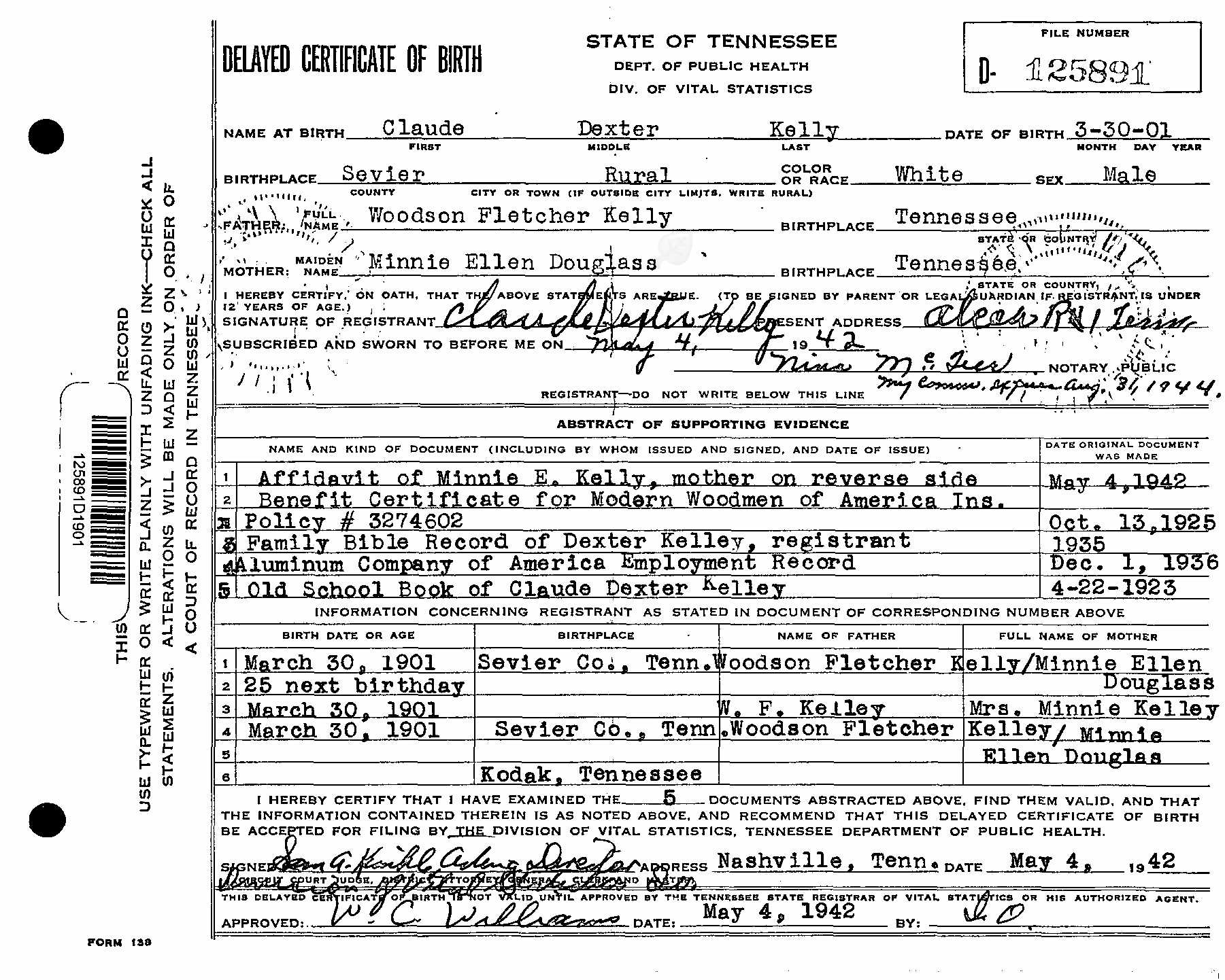 Dexter Kelley Birth Certificate