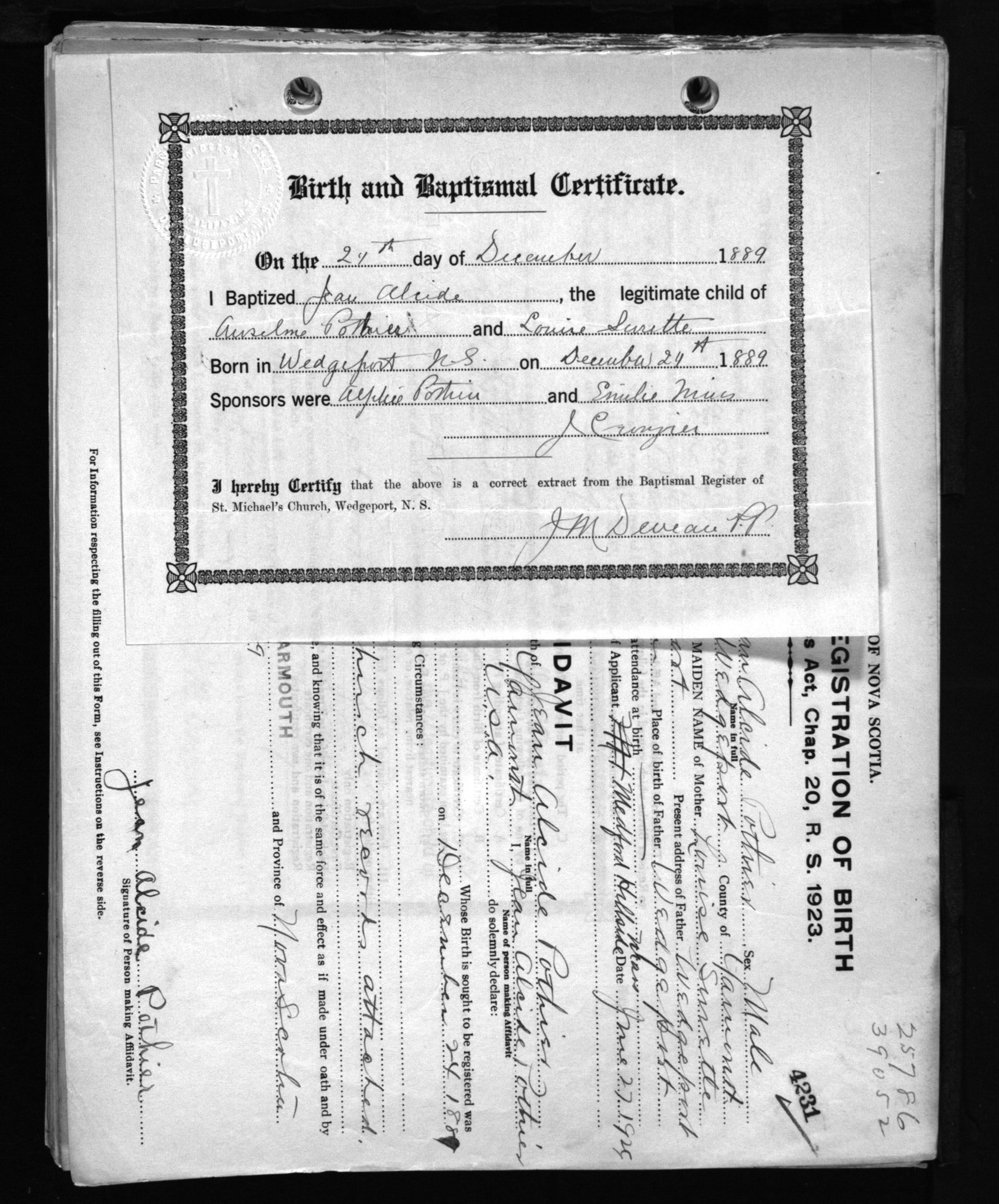 Jean Alcide Pothiers Birth And Baptismal Certificate