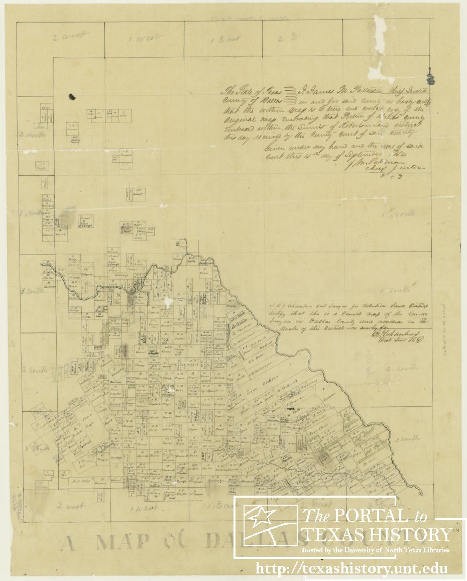 1854 Dallas County Map - land abstracts on