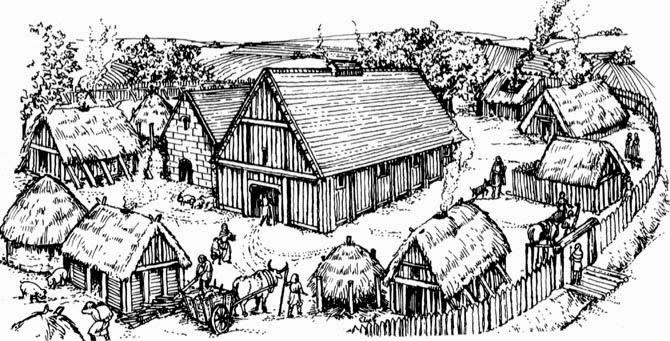 Free Worksheets viking longhouse worksheet : Illustration of an Anglo-Saxon Village