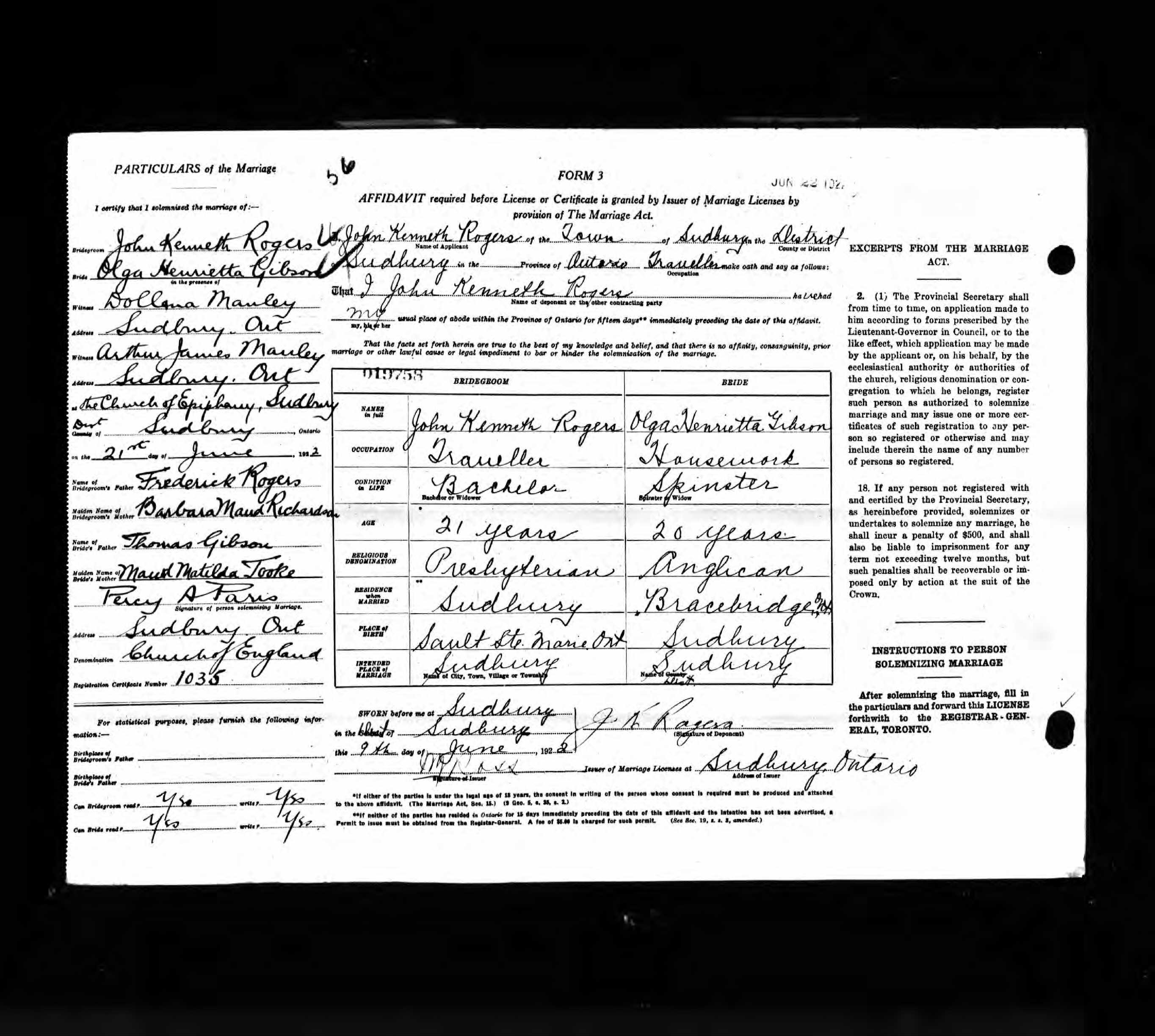 1922 Olga Henrietta Gibson Marriage Certificate