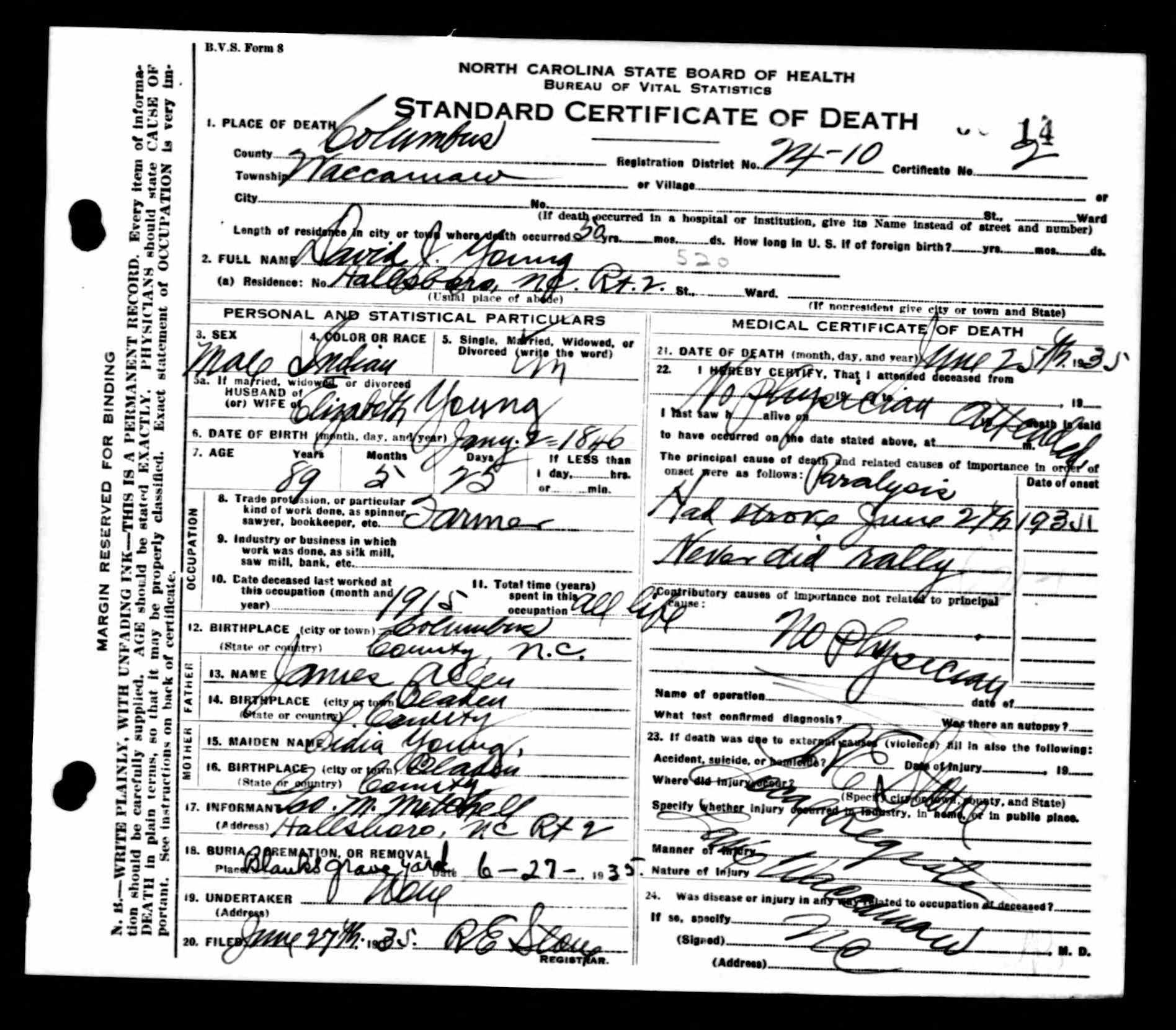 North Carolina Death Certificates 1909 1976