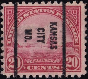 Golden Gate Pre-Cancelled 20 Cents US Postage