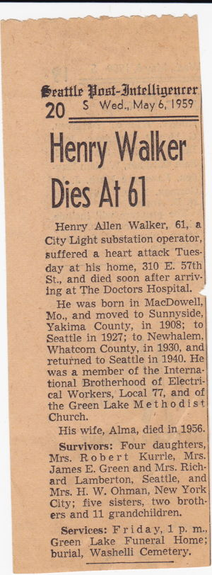 Henry Allen Walker's obituary