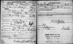 Arthur Franklin WWI Draft Card