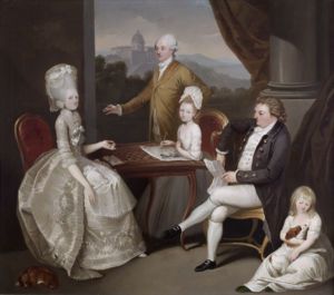 Aubrey Beauclerk, later 5th Duke of St. Albans, and his family including his eldest son Aubrey (1765-1815), later 6th Duke of St. Albans, who joined his parents in Rome in May 1778, and their two eldest daughters, Catherine (1768-1803) and Caroline (1775-