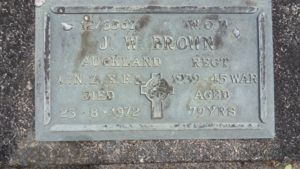Headstone plaque for J. W. Brown