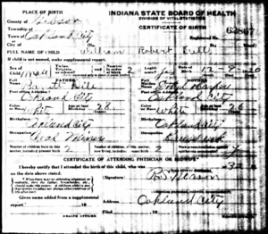 Birth certificate for William Robert Dill