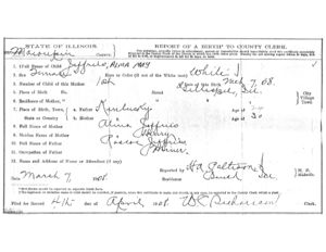 Alma May (Jeffries) Walker's report of birth.