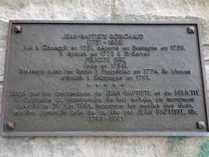 Inscription on monument to Jean-Baptiste