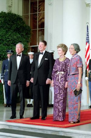 President Reagan with Nancy Reagan, Prime Minister Lee Kuan Yew of Singapore, and Mrs. Lee on the North Portico before a state dinner.
