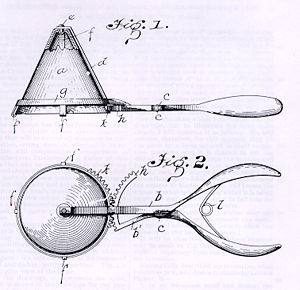 Cralle's Patent Drawing for the Ice Cream Scoop
