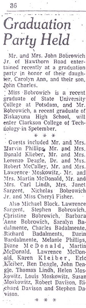 Schenectady Gazette, 05 Jul 1973, Page 36 Graduation Party