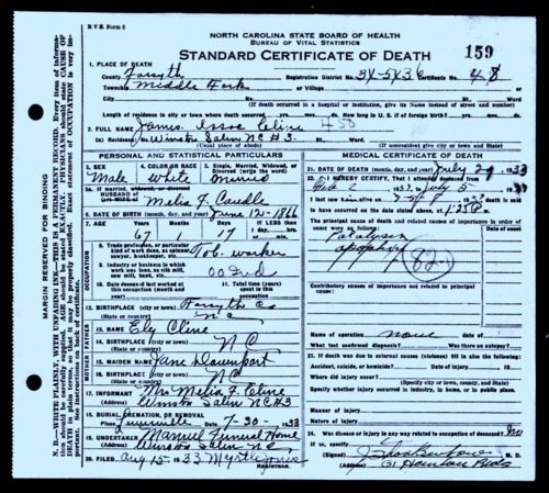 james isaac cline-death certificate
