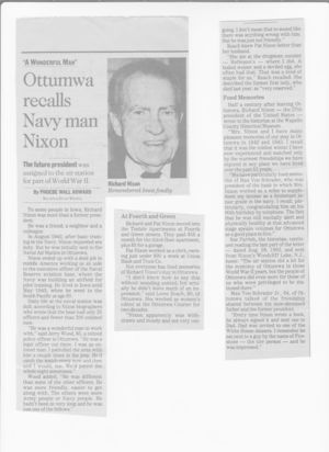Richard and Pat Nixon lived in Ottumwa, Iowa prior to World War II.  This newspaper article includes reminiscences from some of their living neighbors.