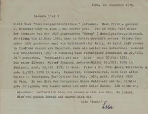 Fritz Waldstein Image 4-Letter from Lola Waldstein in Wien to Lisl Walk in Oxford - extracts