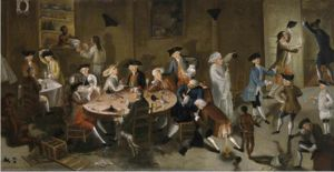 Hopkins (dozing at the table) and other Rhode Island merchants in Sea Captains Carousing in Surinam, a 1750s satirical painting by John Greenwood