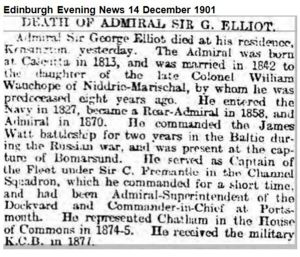 Death announcement for Admiral Sir George Elliot K.C.B.